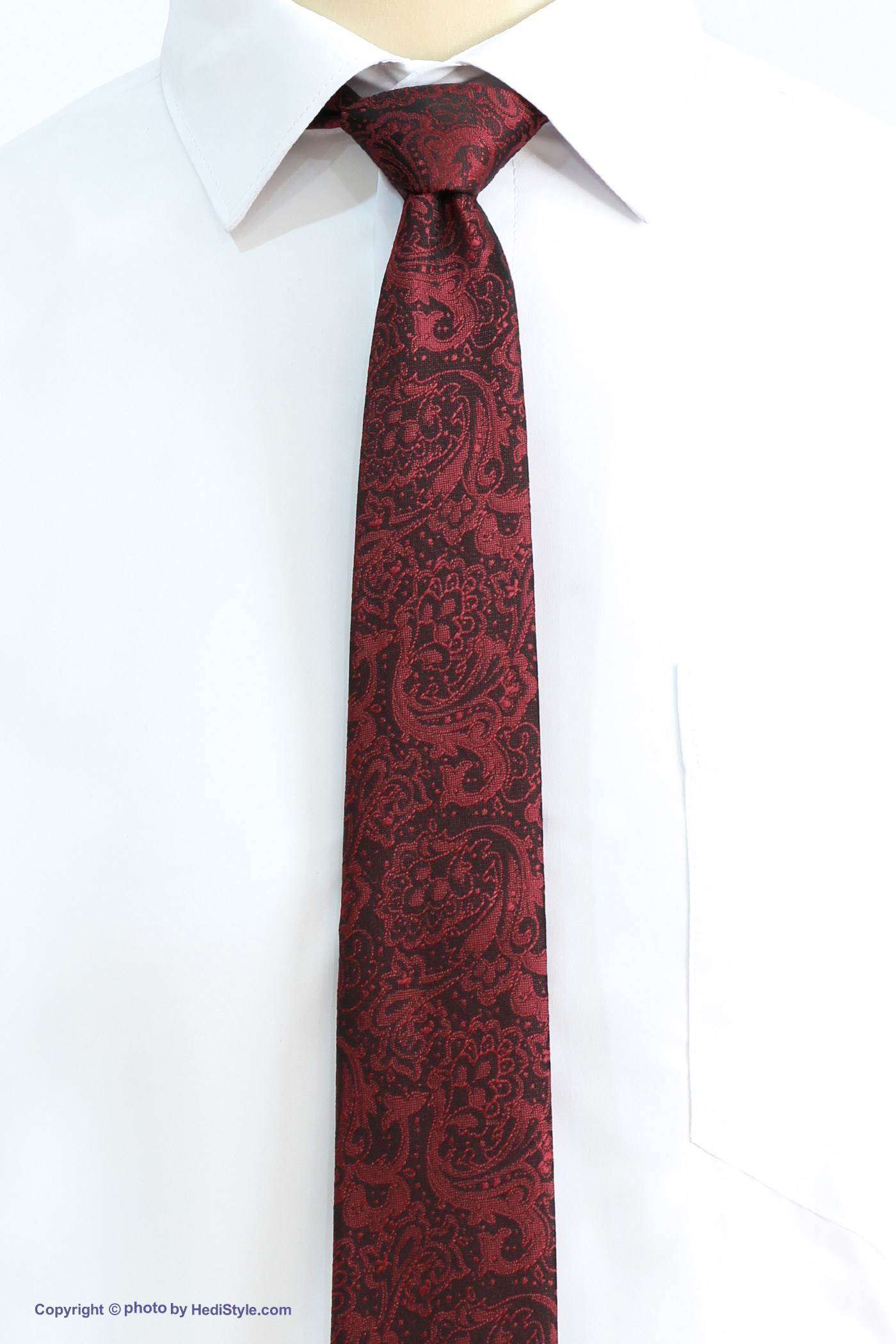 Crimson black patterned tie and leather set